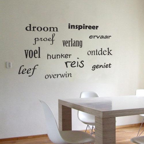 Behang Keuken Tekst : Verschillende inspirende woorden op de muur. De 12 woorden in