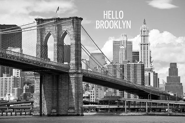 ... winkelexpert.nl - Vlies fotobehang Brooklyn Bridge Zwart Wit met tekst