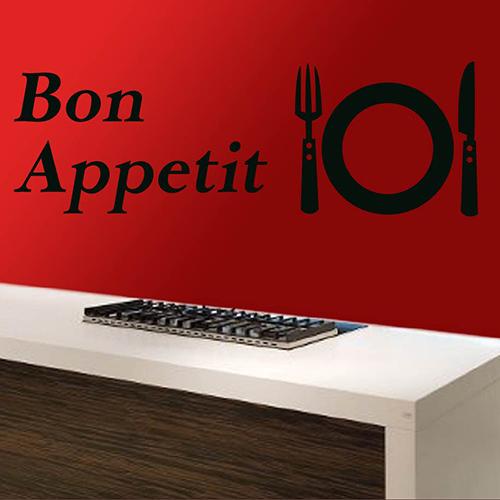 Muurstickers Keuken Bon Appetit : Behangrol – Voor exclusief behang en wanddecoratie – Tekststicker Eet