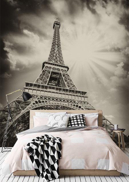 Wauw! met dit vliesfotobehang lijkt het net of je zelf echt onder de eijffeltoren in de meest romantische ...