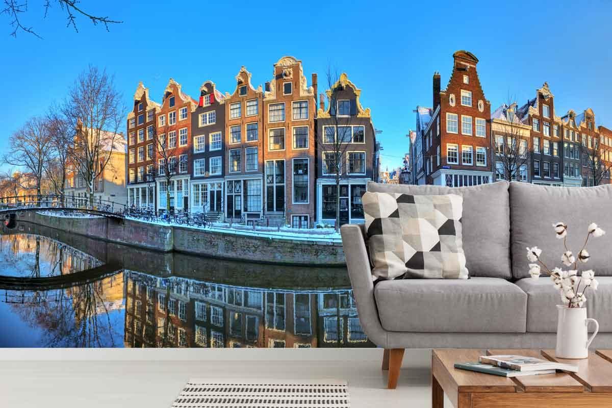 Vlies fotobehang Amsterdam in de sneeuw