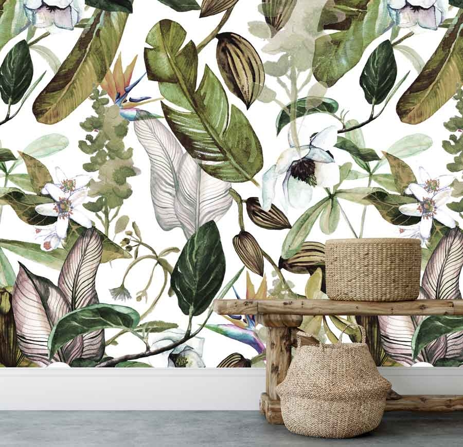 Vlies fotobehang Botanische bloemen en bladeren