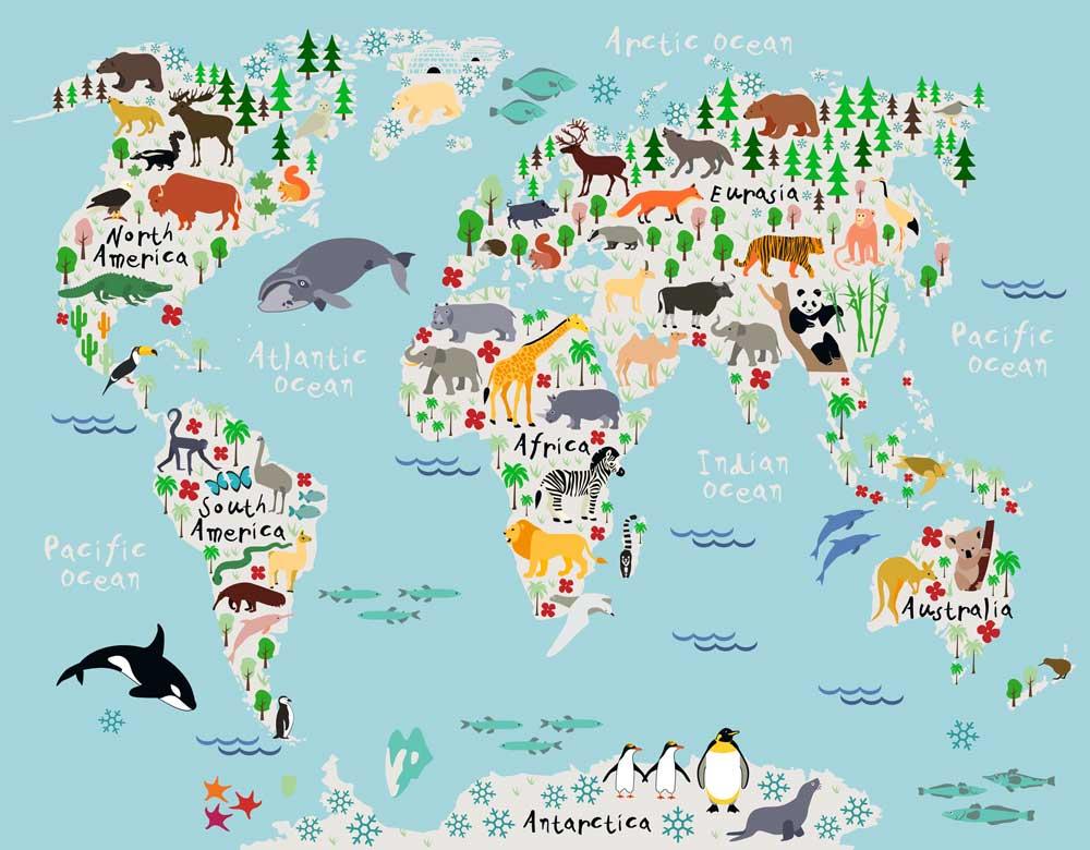 Canvas Wereldkaart