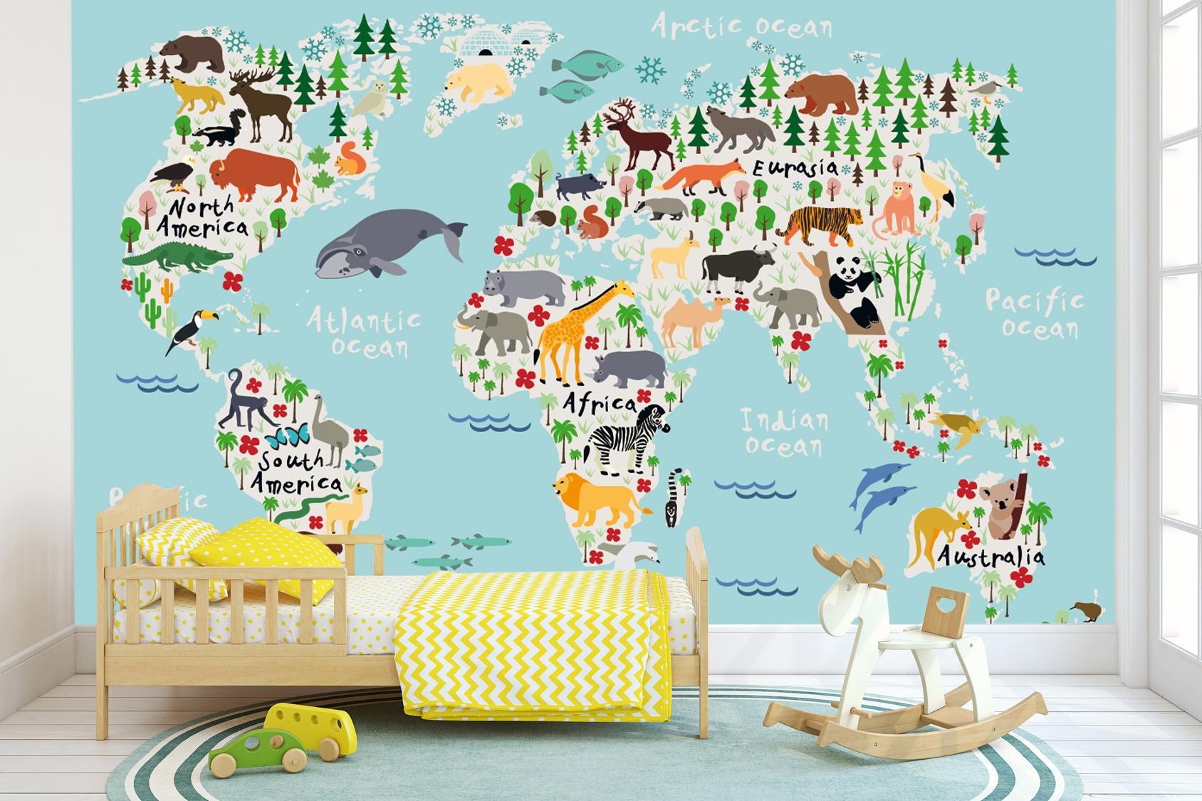 Vlies fotobehang Wereldkaart dierenrijk