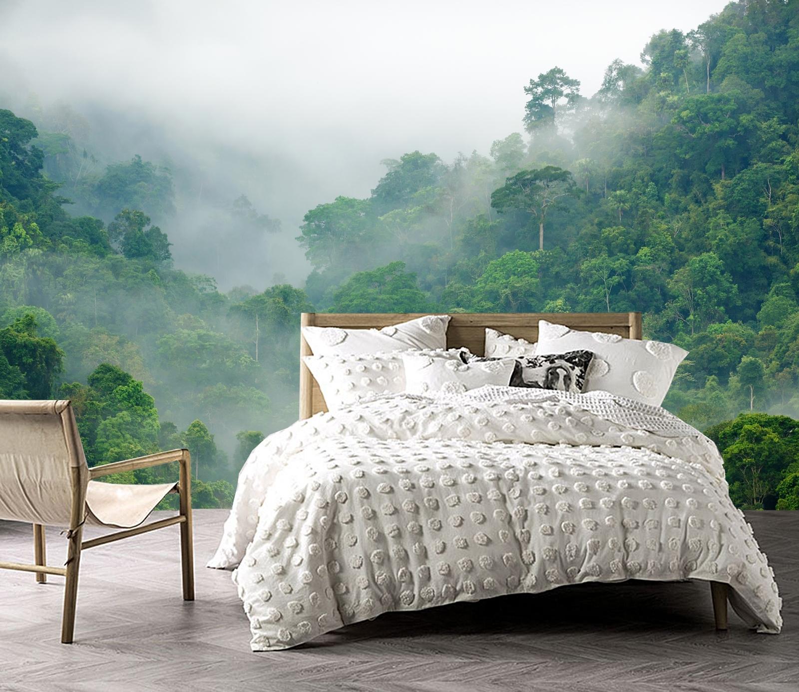 Regenwoud in de mist_vlies