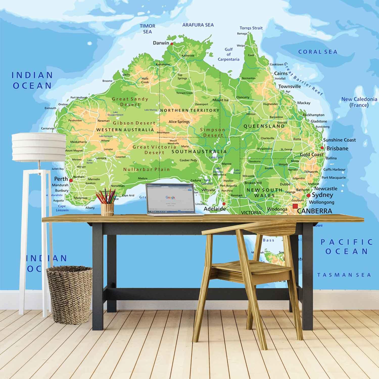Vlies fotobehang Kaart Australie