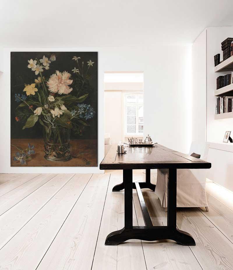 Vlies fotobehang Stilleven met bloemen in een glas