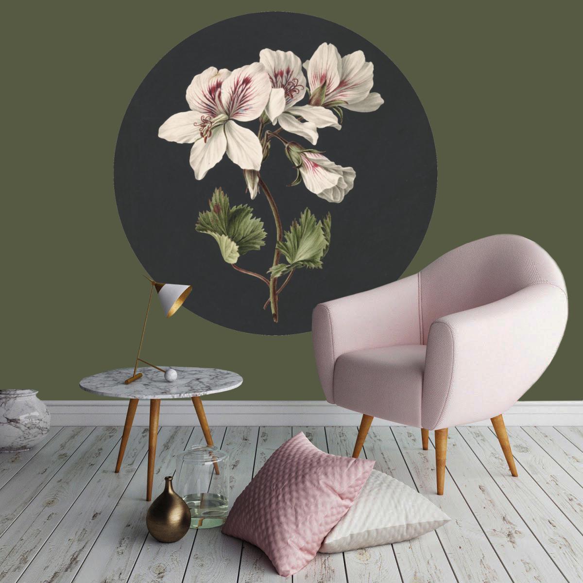 Behangcirkel Bloemen aquarel