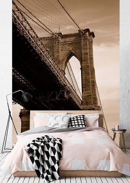 Vlies fotobehang Brooklyn Sepia
