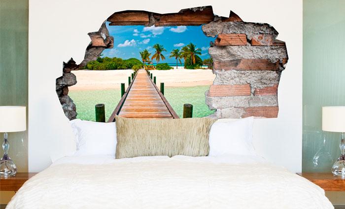 3D Muursticker Tropisch paradijs