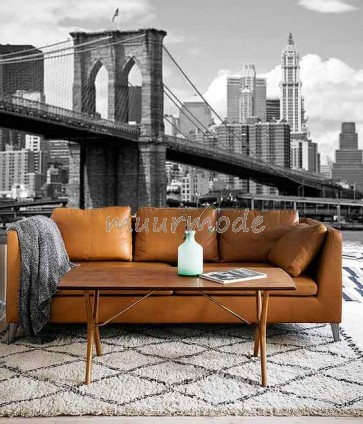 Vlies fotobehang Brooklyn Bridge overdag Zwart Wit
