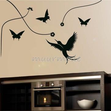 Interieursticker Lianen met vogels en vlinders