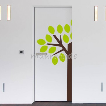 Deursticker boom met blaadjes