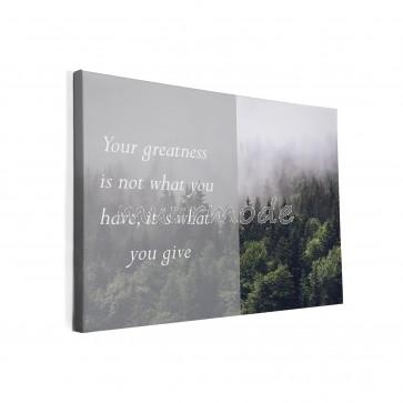 Tekst op canvas Bos in de mist