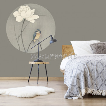 Behangcirkel IJsvogel bij lotusbloem