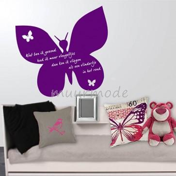 Muursticker vlinder met tektst