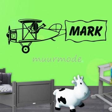 Muursticker vliegtuig met eigen naam