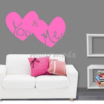 Muursticker You & Me in hartvorm