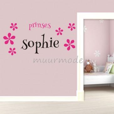 Sticker Prinses met eigen naam (2 kleurig)