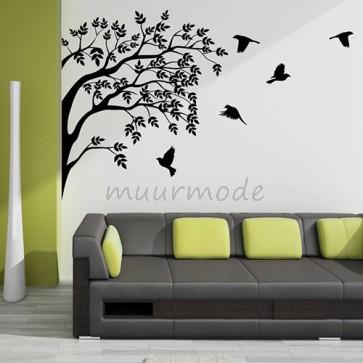 Interieursticker Groep vogels in boom