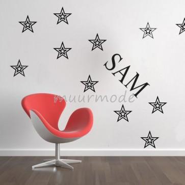 Naamsticker met sterren