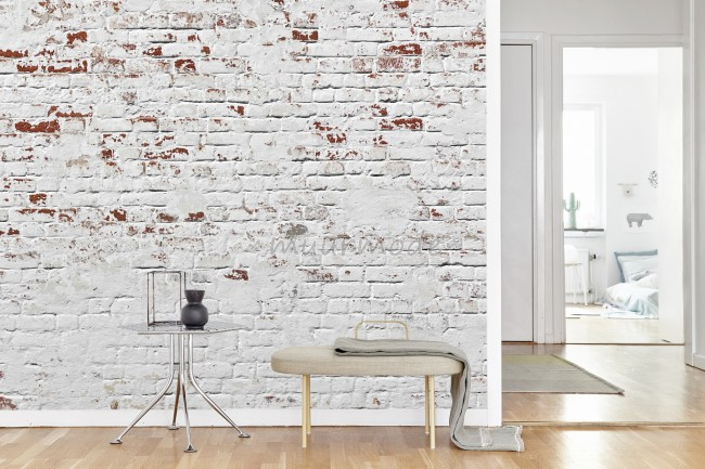 Super Vlies fotobehang Witte bakstenen muur   Muurmode.nl @GJ51