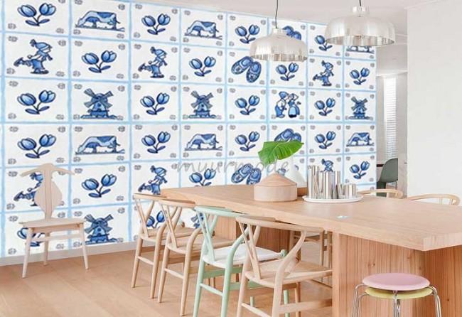 Delfts Blauwe Tegels : Vlies fotobehang delfts blauwe tegels muurmode