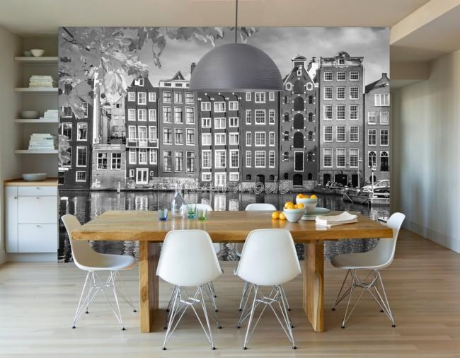 Fotobehang Zwart Wit.Vlies Fotobehang Amsterdamse Huisjes Zwart Wit