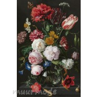 Vlies fotobehang Still Life with Flowers in a Glass Vase