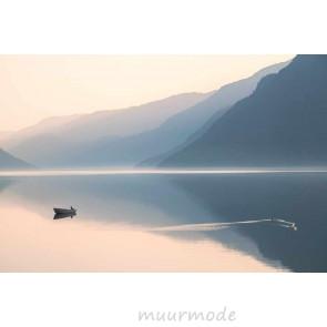 Vlies fotobehang Bootje op het meer