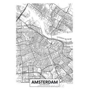 Fotobehang Plattegrond Amsterdam