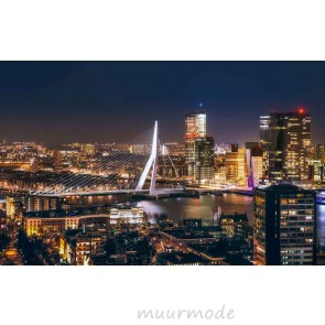 Vlies fotobehang Rotterdam bij nacht