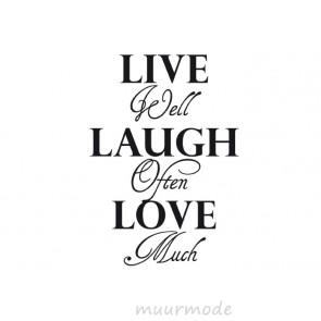 Tekststicker Live, Laugh, Love