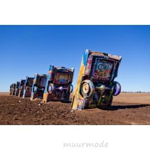 Vlies fotobehang graffiti cadillac