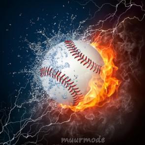 Vlies fotobehang Vlammende honkbal