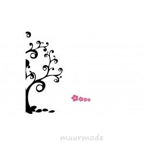Deursticker Boom met bloemen (2-kleurig)