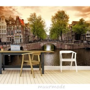 Vlies fotobehang Amsterdamse grachten
