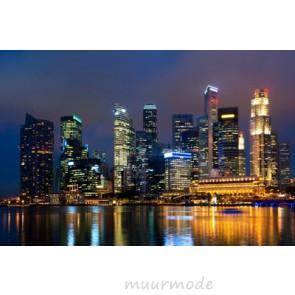 Vlies fotobehang Skyline Singapore by night