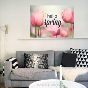 Hello Spring - Foto en tekst op hout