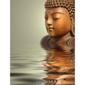 Tuinposter Houten boeddha