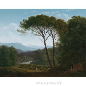 Vlies fotobehang Italiaans landschap met pijnbomen
