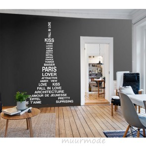 Muursticker Eiffeltoren met woorden