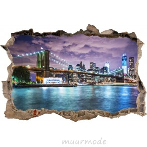 3D Muursticker New York by night