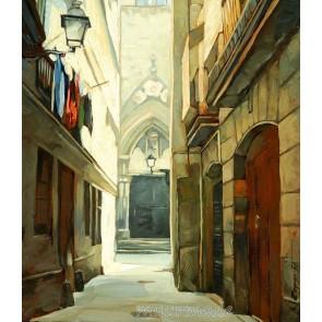 Vlies fotobehang Straatje in Barcelona