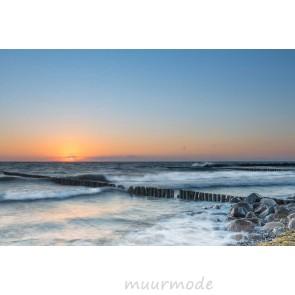 Vlies fotobehang Houten palen in de zee