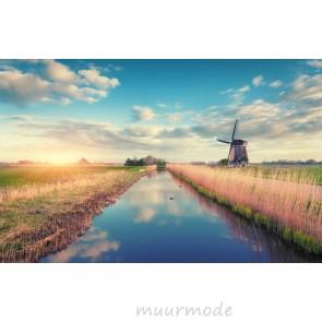 Vlies fotobehang Windmolen bij zonsopgang