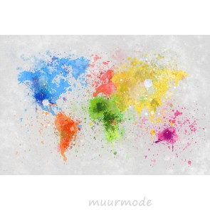 Vlies fotobehang Wereldkaart Verfspatten