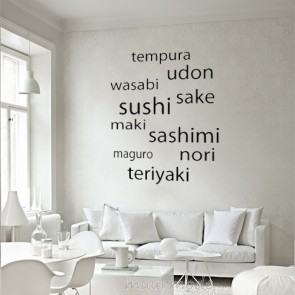Tekststicker met sushi-woordenbrei