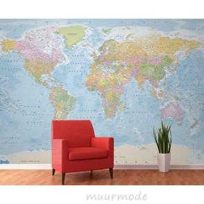 Fotobehang Gedetailleerde wereldkaart
