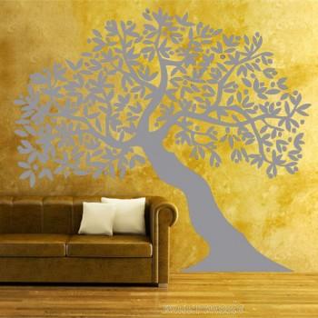 Interieursticker Eikenboom groot zilver (aanbieding!)